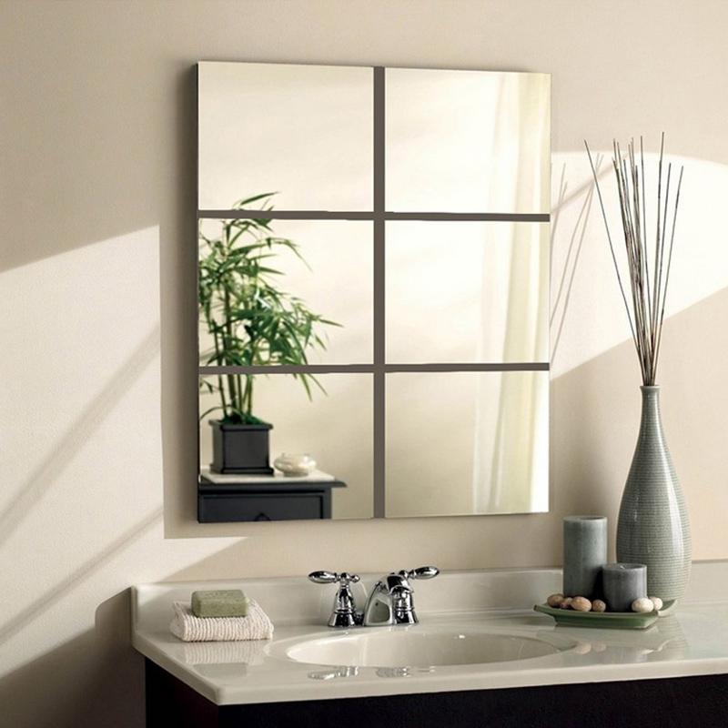 9pcs Mirror Wall Stickers Square Adhesive Decals For Living Room Bedroom Acrylic Mirror Wall Mural Modern DIY Art Decor