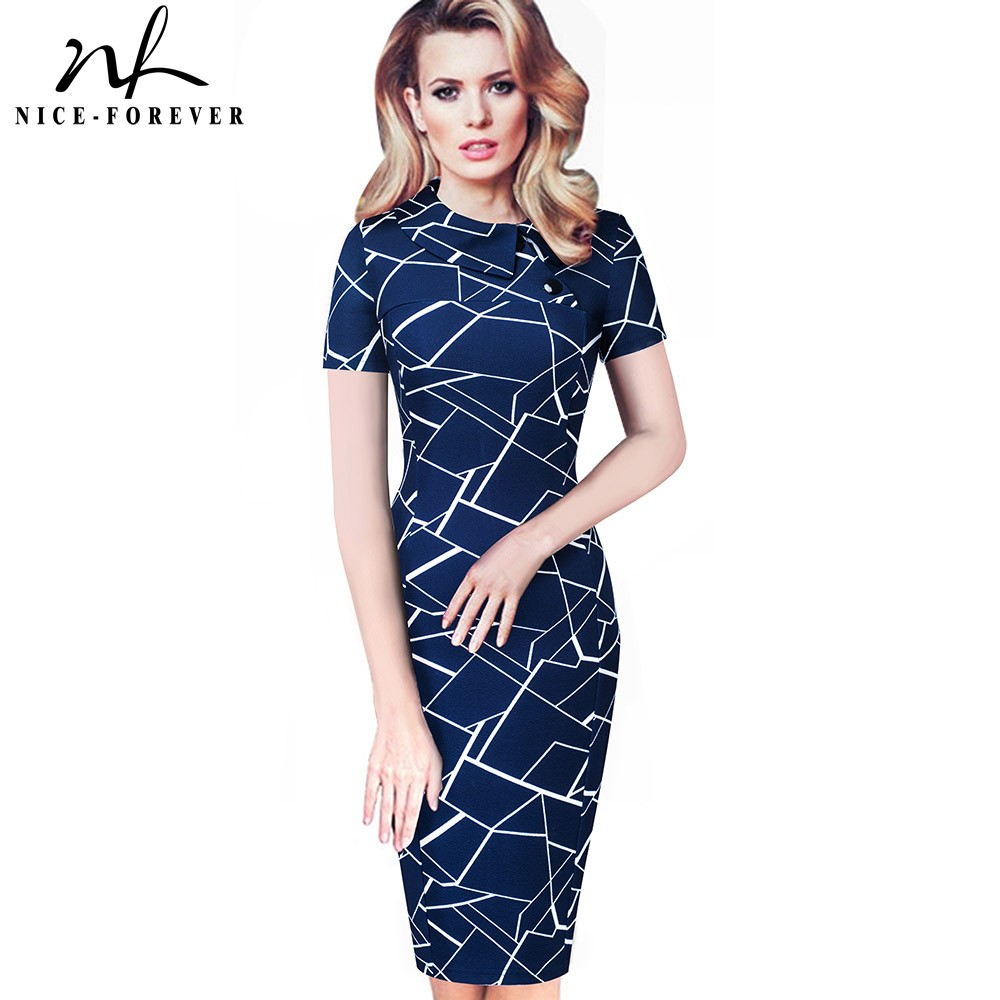 Nice-forever Vintage Elegant Office Work Vestidos With Button Business Bodycon Women Pencil Slim Dress B573
