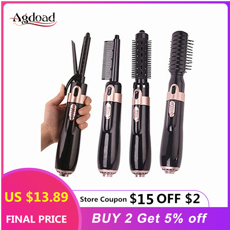 Electric 4 In 1 Curling Iron Ceramic Hair Dryer Professional Hairdressing With Hair Brush Comb Roller Curling Wand Salon Styling
