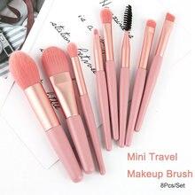 8 pçs/set viagem mini cosméticos pincéis de maquiagem conjunto fundação blush olho sombra eyeliner sobrancelha cílios feminino rosto maquiagem ferramenta