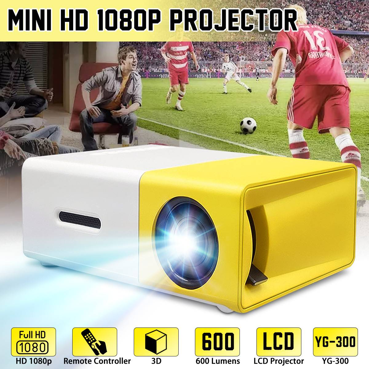 YG-300 Mini LCD LED proyector 400-600 lúmenes 320x240x800: 1 soporte 1080P portátil Oficina hogar cine Proyector