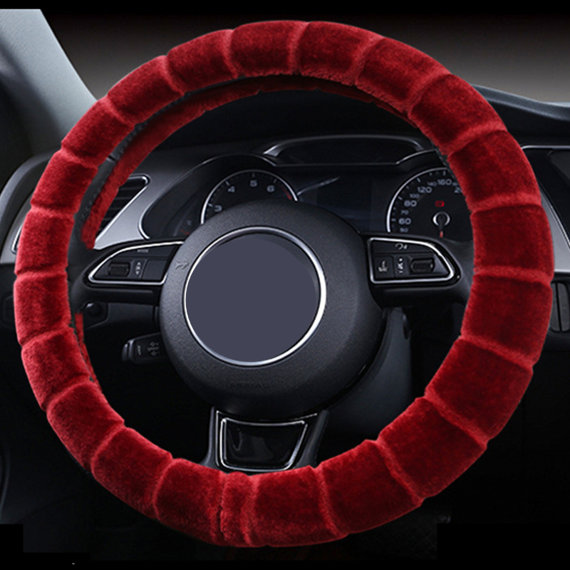 Luxury Universal Soft Wool Plush Fuzzy Auto Car Steering Wheel Cover For Winter