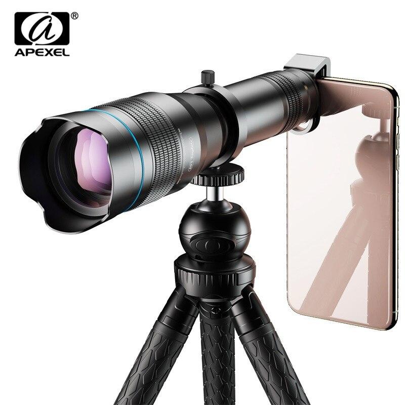 APEXEL HD 60X téléphone caméra lentille télescope lentille Super téléobjectif Zoom monoculaire + trépied extensible avec télécommande pour tous les Smartphone