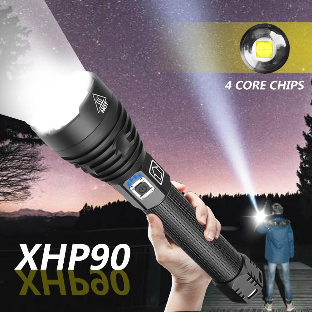 Super Bright 160000LM XHP90 LED Flashlight XLamp Zoom Torch XHP70 USB Rechargeable Waterproof Lamp use 18650 26650 for Camping