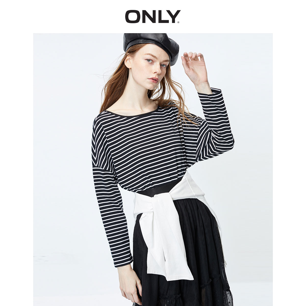 ONLY Women's Loose Fit Round Neckline Cross-over Lace-up Long-sleeved T-shirt | 120102513