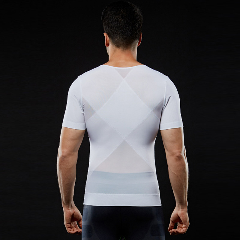 Image 3 - IYUNYI Men Body Shapers T shirt Lose Weight Slimming Tops Men Chest Shapers Belly Stomach Shapewear Posture Corrector T Shirt-in Shapers from Underwear & Sleepwears on AliExpress