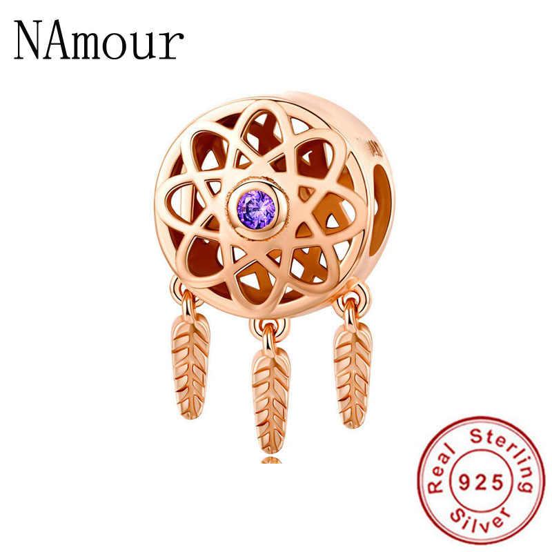 Fit Original Pandora Charms pulsera 925 pulsera de plata esterlina de oro rosa Dreamcatcher a mano alzada de cuentas para bricolaje de joyería haciendo Berloque
