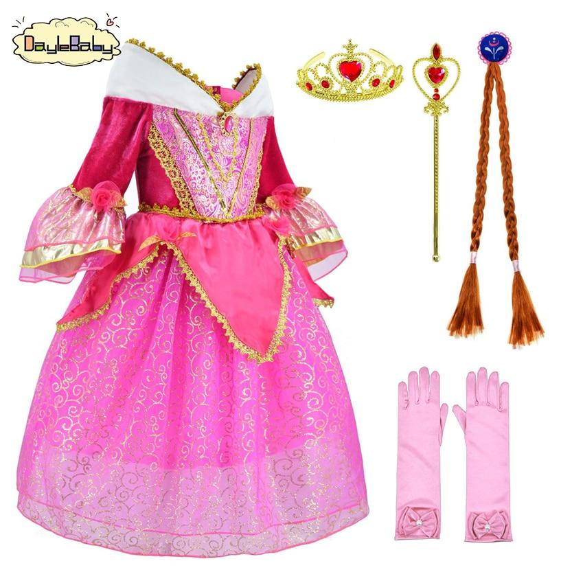 Sleeping Beauty Girls Princess Aurora Dress up Party Birthday Costume set Fancy