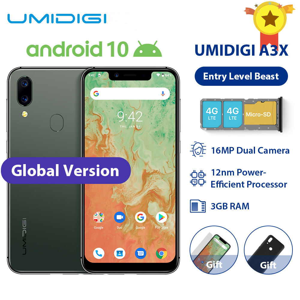 UMIDIGI A3X Android 10 Global Band 3GB RAM 16GB MT6761 5.7 Smartphone 16MP+5MP Rear 13MP Selfie Dual 4G Triple Slots 3300mAh image
