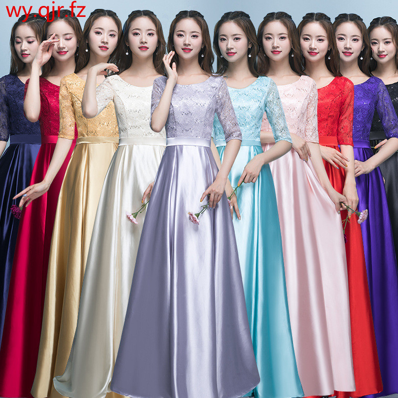 HJZY85#Bridesmaid Dresses Blue Long Lace Up Performing Chorus Costume Graduation Party Dress Christmas Gray Wine Red Wholesale