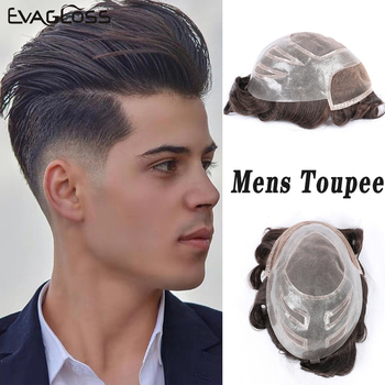 EVAGLOSS Human Hair Transparent Toupee Man French Lace Front Remy Hair Replacement System For Mens Prosthetic Hair Wig Male