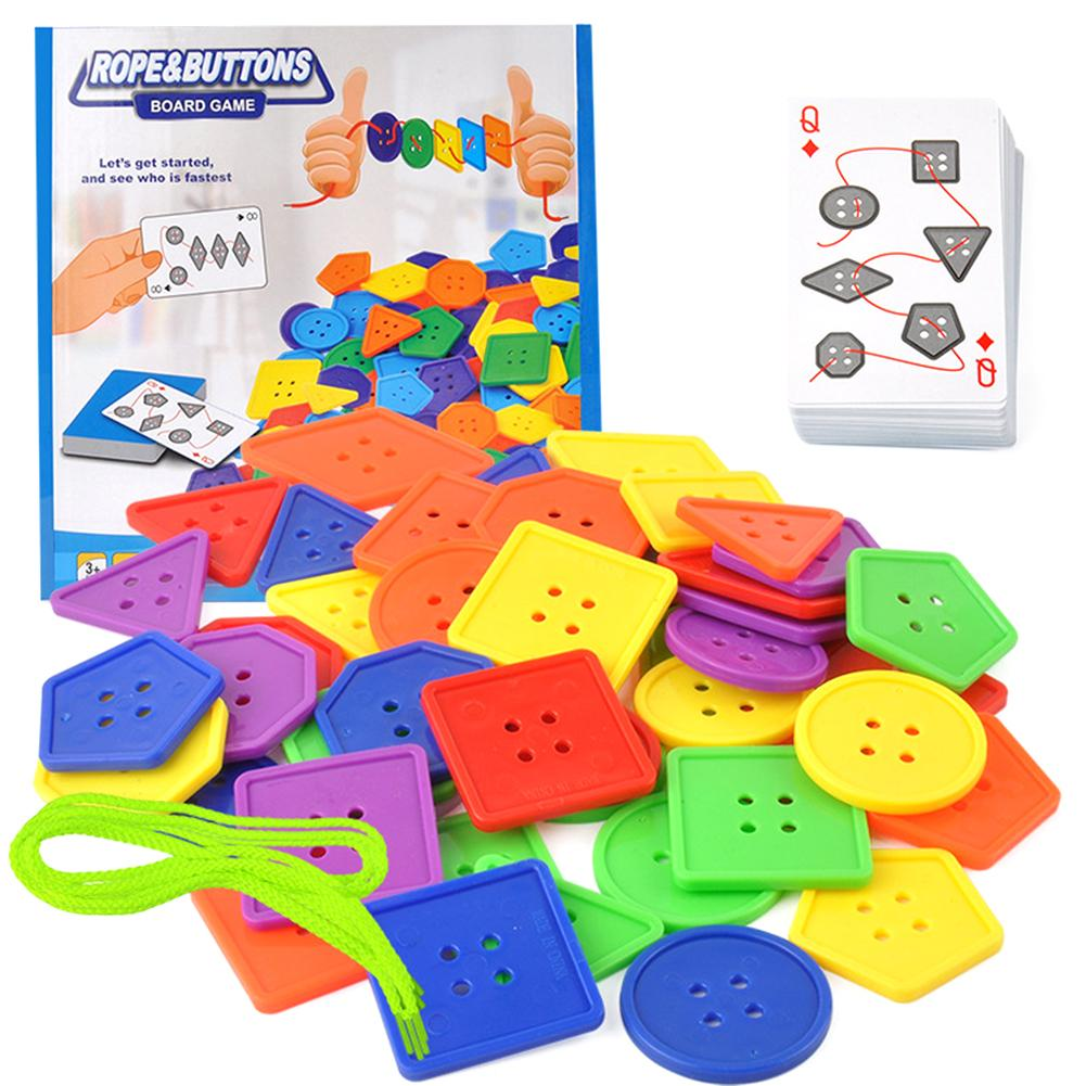 Colorful Geometric Buttons Lacing Thread Stringing Beads Educational Kids Toy