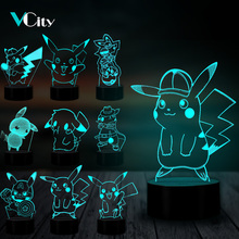 VCity 3D Nightlight Pokemon Series Pikachu LED Lamp Home Bedroom Atmosphere Lighting Decor Acrylic Plate Touch