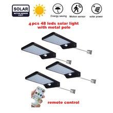 цена на 2/4pcs Solar Power 48 Led Solar Light PIR Motion Sensor 7 Mode White Wall Garden Light LED Street Lamp With Remote Controller se