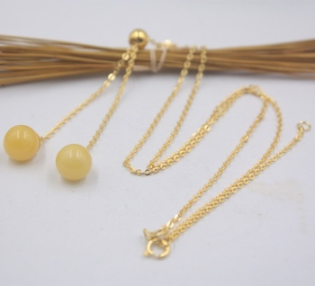 Real S925 Silver Necklace Women's Girl Birthday Gift Two Amber Ball Link 17.7inchL New Gift