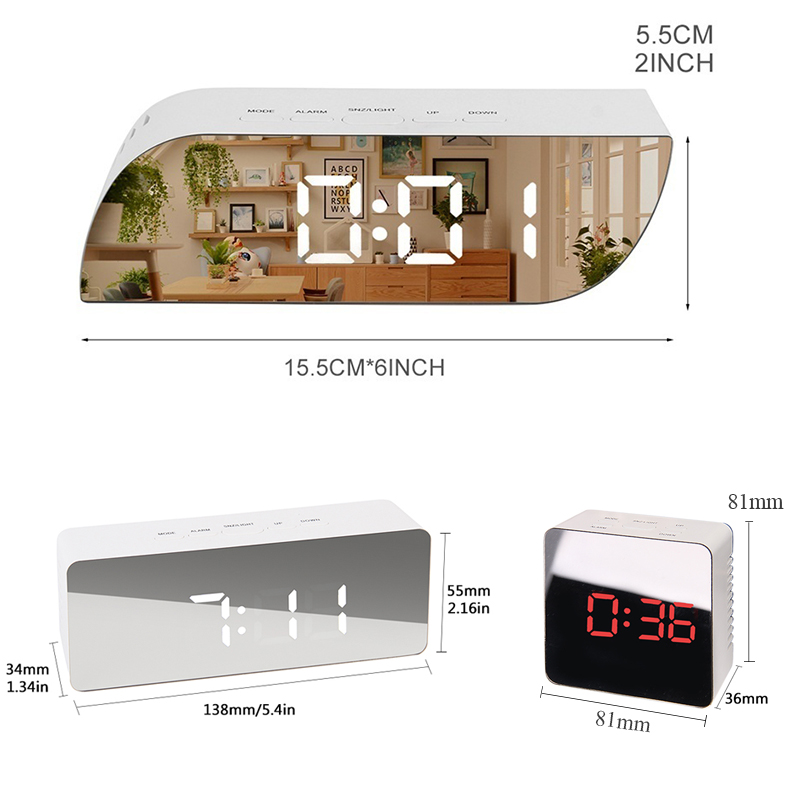Battery Operated Digital Mirror Alarm Clock with LED Display Used as Night Lights including Temperature Display and Snooze Function 5