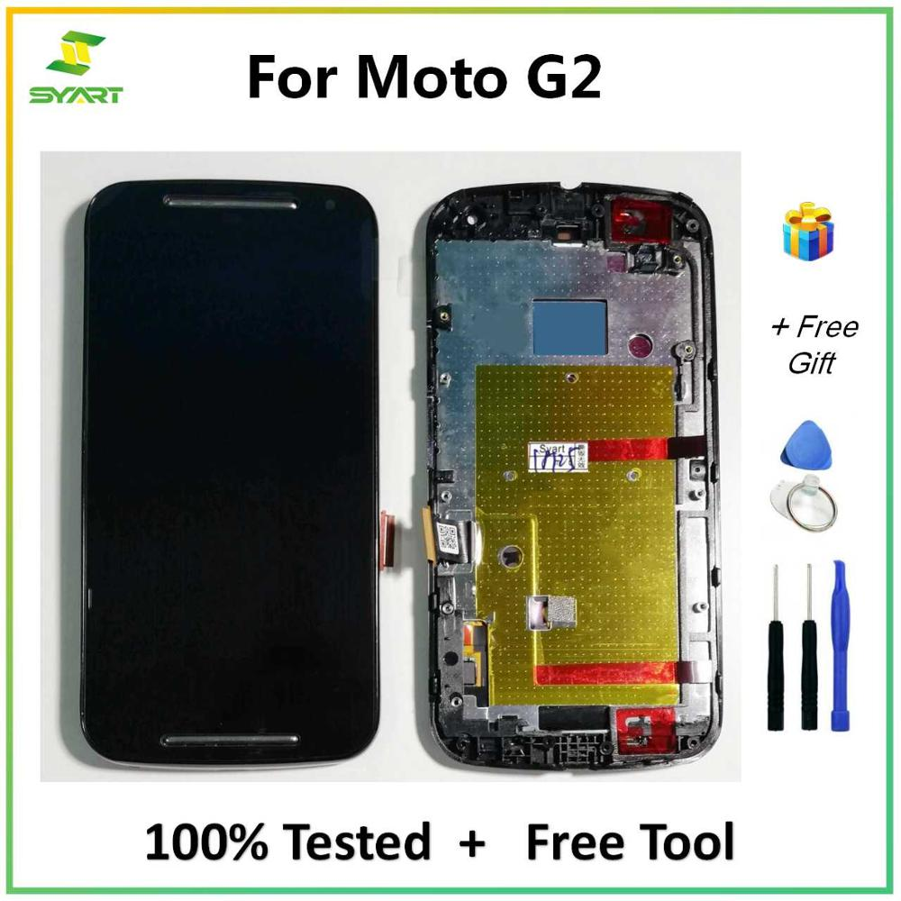 SYART For <font><b>Motorola</b></font> Moto G2 G 2 2nd Gen XT1063 XT1064 <font><b>XT1068</b></font> XT1069 LCD <font><b>Display</b></font> Touch Screen Digitizer With Frame Assembly +Tools image