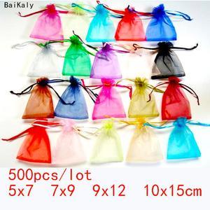 Image 1 - 500 adet İpli takı çantaları kılıfı 5x7 7x9 9x12 10x15cm organze çantalar düğün ambalaj hediye çantası parti dekorasyon takı çantası