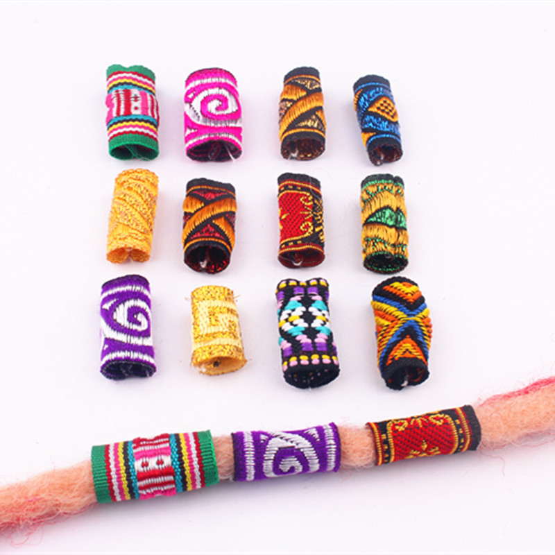 10Pcs/Lot Colorful Mix Fabric Hair Braid Dread Dreadlock Beads Rings Tube Approx 5-7mm Hole Size
