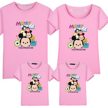 2020 Dad and Me T-shirt Summer Mother and Daughter Clothes Boys Girls Mickey Minnie Mouse Cotton Top Family Matching Clothes(China)