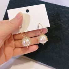 Korean Fashion Big Pearl Hoop Earrings Gold Coloe Metal Tassels Simulated Pearl Earrings for Women Wedding Statement Jewelry korean sweet heart shape simulated pearl earrings for women girls gold color white pearl hoop earrings statement jewelry gift