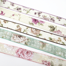 25 ярдов 40 мм цветы узоры печатная полотняная лента, материалы для ручных поделок для изготовления проектов подарочная упаковка, 25Yc2494