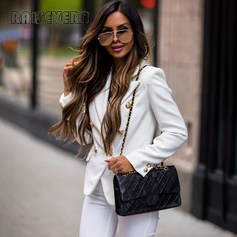 Women Elegant Blazer 2019 New Casual Double Breasted Pocket Women Short Jackets Long Sleeve Office Ladies Tops Blazer Outerwear