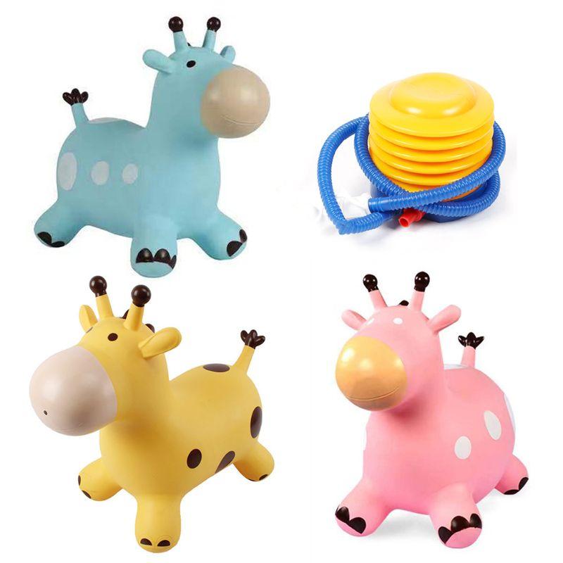 Inpany Bouncy Giraffe Hopper Inflatable Jumping Giraffe Bouncing Animal Toys F3ME