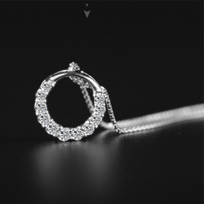 2019 Summer Fashion Hot Sale Promotion New Shiny Zircon Crystal Circle Silver Women 39 s Pendant Necklaces Jewelry Gift in Pendant Necklaces from Jewelry amp Accessories