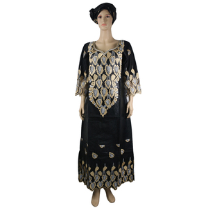 Image 1 - MD african bazin riche vestidos africanos tradicionales para mujer, bordado dashiki vestido largo, vestidos de talla grande para mujer