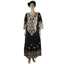 MD africano bazin riche vestito delle donne tradizionale africana abiti per le donne del ricamo dashiki lungo del vestito più il formato della signora abiti