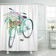 Azul Vintage acuarela turquesa bicicleta con hermosa cesta de flores mano verano bicicleta Aster Holland ducha cortinas impermeables