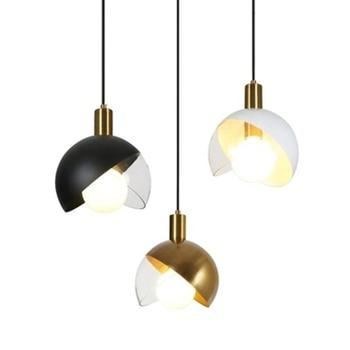 Nordic minimalist creative metal glass pendant light modern luxury restaurant bar art design hanging lamp
