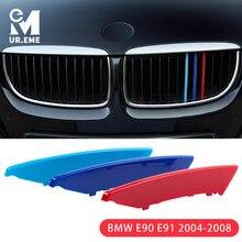 3pcs Tiras Grill Cobrir Guarnição Grade Dianteira Do Carro da Etiqueta Para A BMW E90 E91 3 Series 2004 2005 2006 2007 2008 M Styling Acessórios