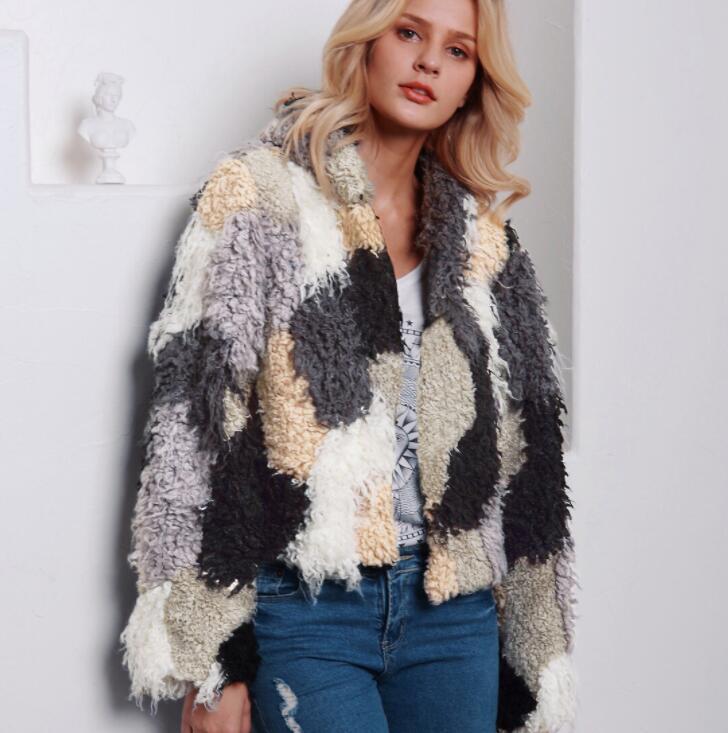 Autumn faux mink   leather   jacket womens Mixed color plush winter thicken warm fur   leather   coat women jackets jaqueta de couro