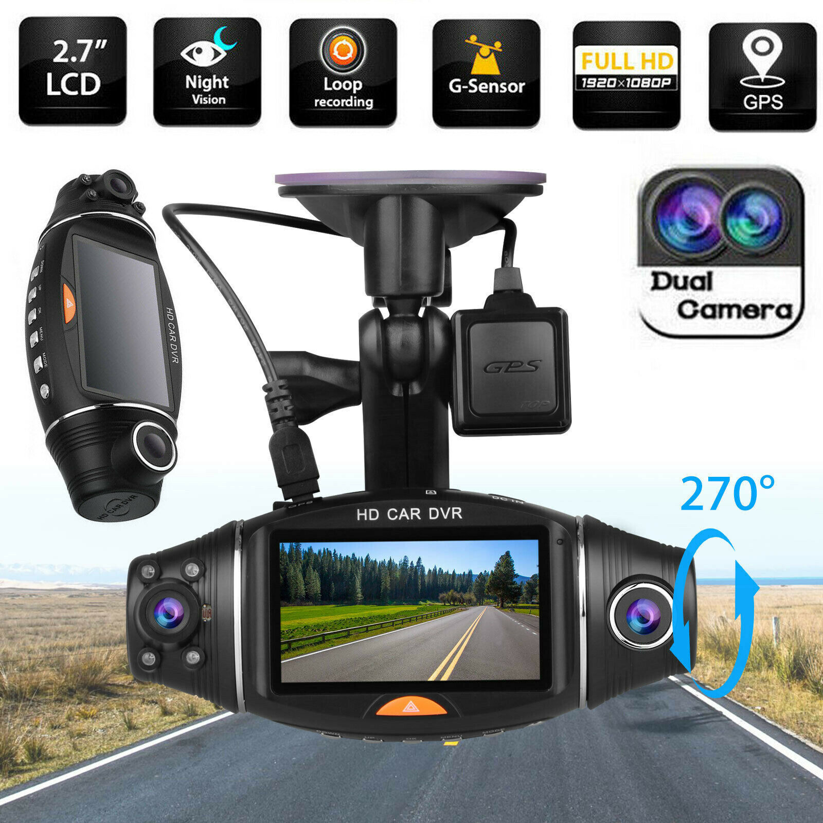 "Full HD 1080P 2.7"" Dual Lens Car DVR GPS Camera with Rear View Night Verison Camera Video Recorder G Sensor Dash Cam Car DVRs