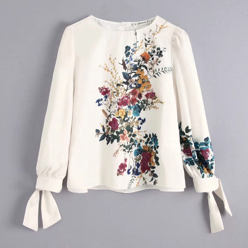 new autumn women elegant position flower printing casual   blouses   chic   shirts   female o neck cuff knotted chic blusas tops LS4122