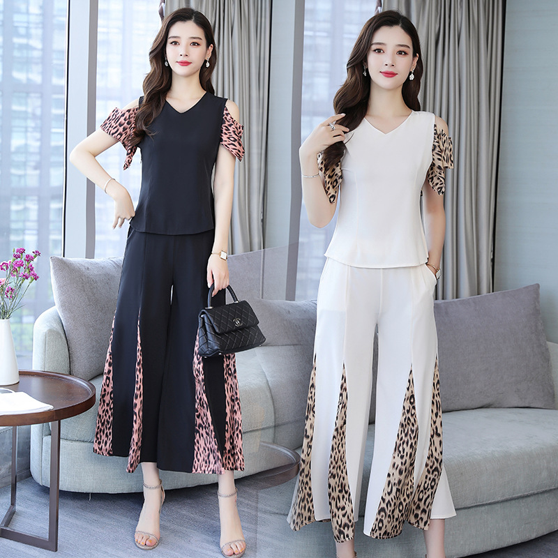 Large Size 2019 Summer Wear New Style Leopord Pattern Joint Loose Pants Two-Piece Set Korean-style Slimming Exposed Shoulder Fas