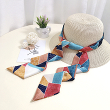 2020NEW Design fashionable double-printing small long Imitation scarf for women summer Hat ribbon travel neck hair bands