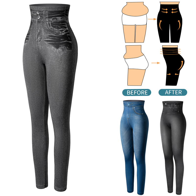 Faux Denim Jeans Leggings High Waist Fashion Slim Women Seamless Leggings Sexy Long Printing Fitness Legging Casual Pencil Pants