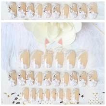 24 Pcs/set Rhinestone Kuku Palsu Tips Sticker Pengantin Tekan Palsu Kuku Manikur FLASH Chip dengan Lem untuk Nail Art dekorasi Hot(China)