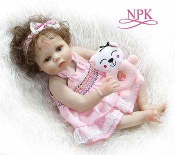 Pink Cute Reborn Baby Full Body Slicone Doll Girl Bebe Sleeping Bath Toy Soft Hand-rooted Curly Hair Christmas Gift 56CM AA50DT