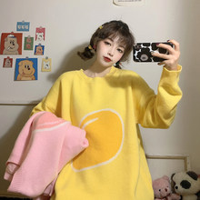 Fruit Embroidery Female Sweater Autumn Wear 2019 New Korean Loose Wild Long Section Pullovers Knit Peach Mango Women Sweaters(China)