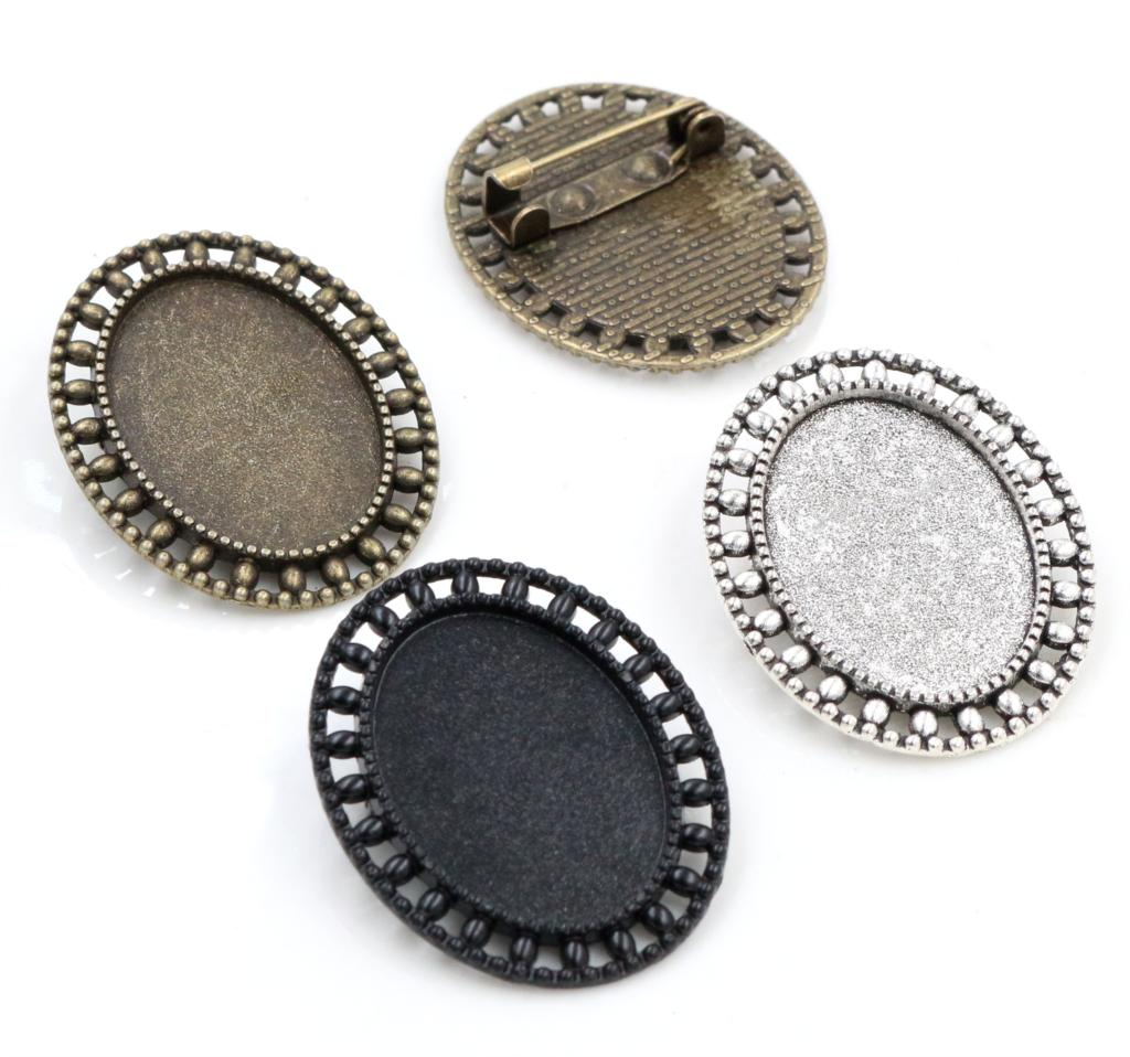 3pcs 18x25mm Inner Size Antique Silver Plated Bronze And Black Brooch Pin Classic Style Cameo Cabochon Base Setting