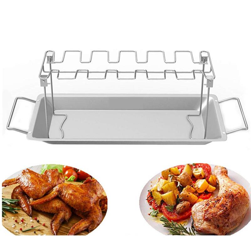 Stainless Steel Chicken Leg Holder Wing Rack Rack Portable Barbecue Bracket BBQ Dishes for Grill Smoker Picnic Cooking Tools image