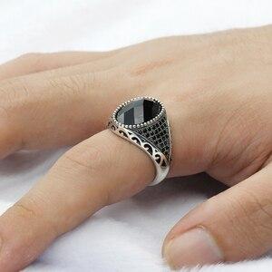 Image 5 - 925 ayar gümüş erkek yüzük siyah kübik zirkon taşlar Vintage tay gümüş yüzük erkek kadın için türk takı