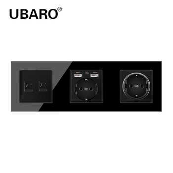 UBARO German Standard Crystal Glass Panel Wall Socket Power Steckdose TV Two Weak Hole Plug Sockets Home Outlet AC100-250V 16A - DISCOUNT ITEM  32 OFF All Category