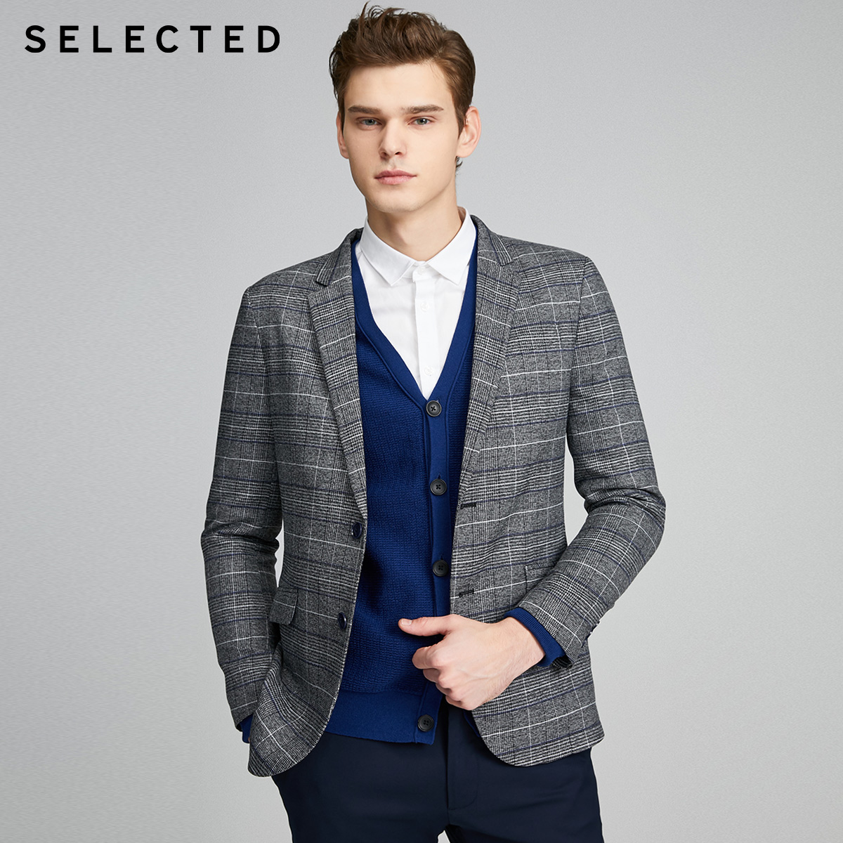 SELECTED Men's Slim Fit Checked Jacket Business Casual Plaid Blazer S|420108505
