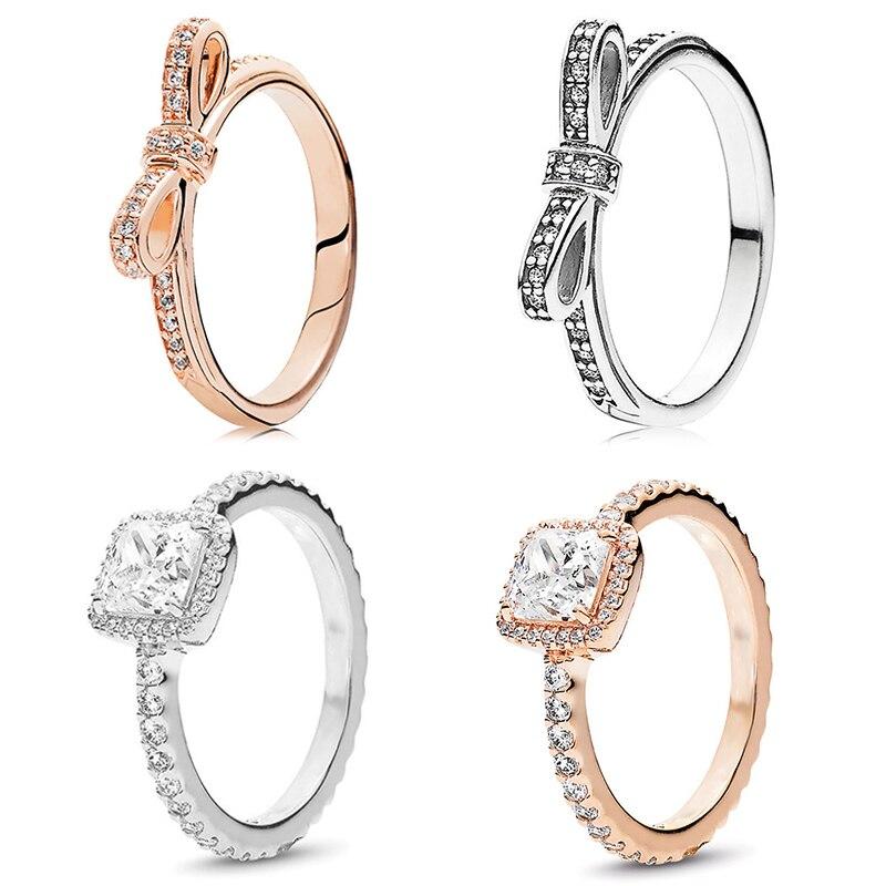 Розовое золото цвет кольцо сверкающий лук-узел штабелируемые тонкое кольцо микро проложить Ясно CZ для женщин жена пара подарок ювелирные и...