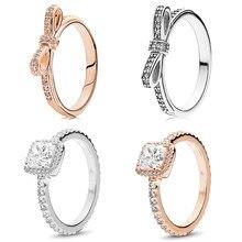 Cor de ouro rosa anel cintilante arco nó empilhável anel fino micro pave clear cz para mulher casal presente jóias